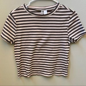 Divided | Striped Ribbed Crop Top